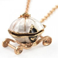 World Pride Fairy Tale Cinderella Pumpkin Carriage Locket Pendant Chain Necklace:Amazon:Jewelry