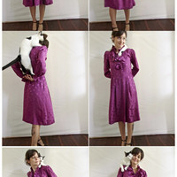 Vintage Dress . Lovely Vivacious Orchid 80s Silk Dress . Ruffled Cuffs & Collar . Size 8