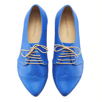 Royal blue, oxford shoes, Polly Jean, handmade, flats, leather shoes, by Tamar Shalem on etsy