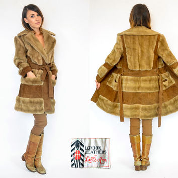 LILLI ANN belted suede & faux fur PRINCESS trench coat jacket, small-medium