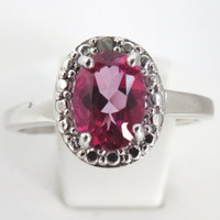 Pink Topaz and Diamonds Vintage Sterling Silver Ring Size 7