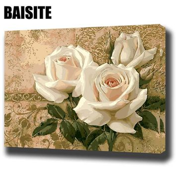 BAISITE DIY Framed Oil Painting By Numbers Flowers Pictures Canvas Painting For Living Room Wall Art Home Decor E756