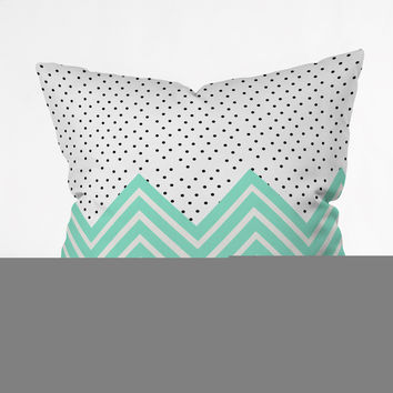 Allyson Johnson Minty Chevron And Dots Throw Pillow