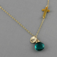 Gold Sideways Cross Necklace With Initial and Birthstone, Emerald Green Quartz, Birthday Gift, Mother Gift, Initial, Bridesmaid Gift