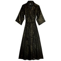 Leopard Play Black Gold Robe | Gold Print Luxury Nightwear| Designer Loungewear Chiffon | Between the Sheets Sleepwear