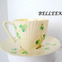 Belleek Cup Saucer, Shamrock Pattern, 1st Green Mark Irish