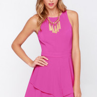 Sweepstakes Winner Magenta Skater Dress