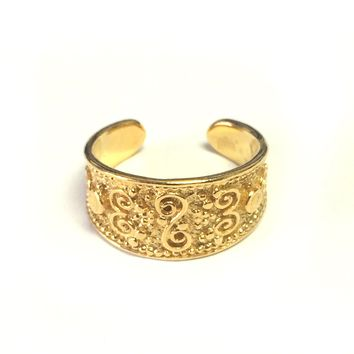 Sterling Silver And 18kt Yellow Gold Ovelry Byzantine Ring