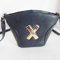 Super Cute Vintage Black leather small Bucket Purse - Initial X - Long shoulder strap - Crossbody Bag