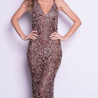 LIVINE GOWN IN BROWN WITH GOLD