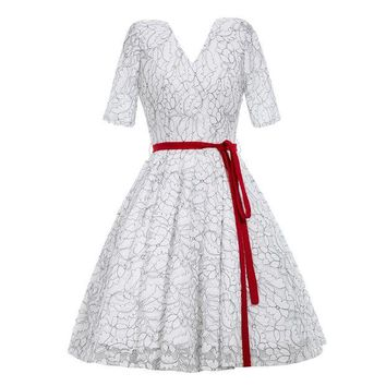 ONETOW white lace a lineDress