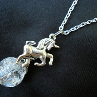 Unicorn Fried Marble Charm Crystal Chain Necklace