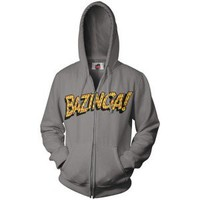 The Big Bang Theory Grey Bazinga Zip Front Hoodie