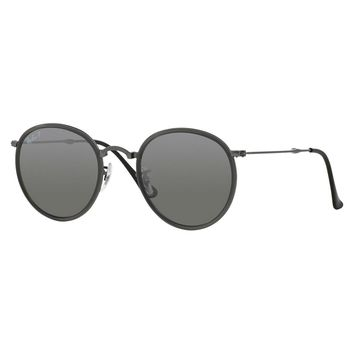 Ray-Ban Men's RB3517 Gunmetal Metal Round Polarized Sunglasses