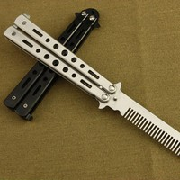 Pro Salon Stainless Steel Folding Practice Training Butterfly Balisong Style Knife Comb Tool Black,Silver Cool