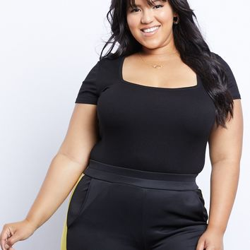 Plus Size Fair n' Square Ribbed Bodysuit
