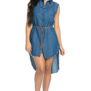 Groovy Denim Button Up Tunic Top