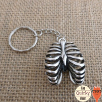 Antique Silver Macabre Ribcage Keychain Rib Cage Key Chain - Heavy Metal - Goth Gothic - Rocker - Skeletal - Skeleton