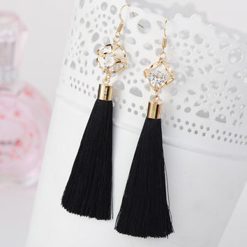 Crystal Tassel Dangle Earrings