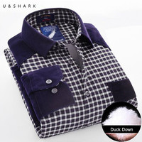 Winter Warm Plaid Casual Shirt Men Long Sleeve Flannel Shirts Velvet Fashion Thick Duck Down Male Shirt Home