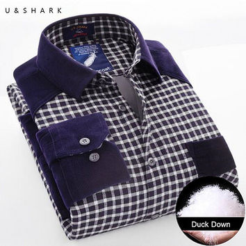 Winter Warm Plaid Casual Shirt Men Long Sleeve Flannel Shirts Velvet Fashion Thick Duck Down Male Shirt