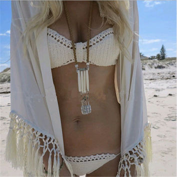 Handmade Crochet Bikini Swimsuit Halter Bathing Suit Beah Wear Sexy Knit Swimwear = 6002250433
