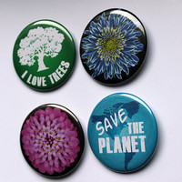 Ecofriendly Large Buttons: I love Trees, Save the Planet | 2.25 inch