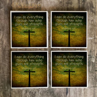 Drink Coasters, I Can Do Everything Through Him Philippians 4:13 Bible Verse Handmade Design, Ceramic Tiles, Housewarming, Christmas Gift