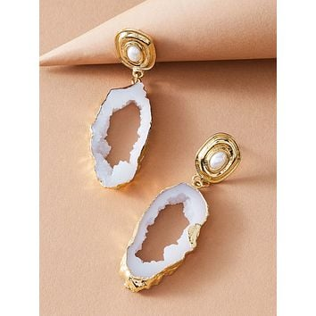 1pair Faux Pearl Decor Round Drop Earrings
