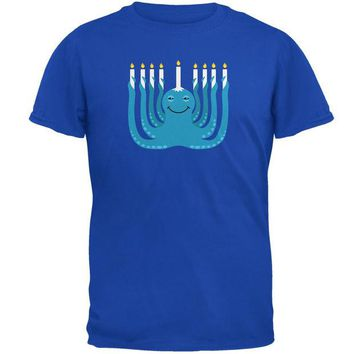 LMFCY8 Hanukkah Menorah-ctopus Funny Octopus Royal Adult T-Shirt