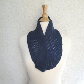 Cashmere Neck Warmer Cowl Scarf, Navy Blue, Infinity Loop Scarf, Lacy Knit Scarf, Open Knit