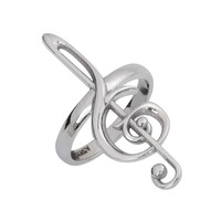 Treble clef ring, sterling silver music ring, sterling silver jewelry