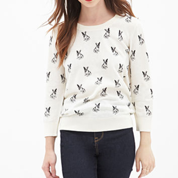FOREVER 21 Boston Terrier Print Sweater Cream/Black