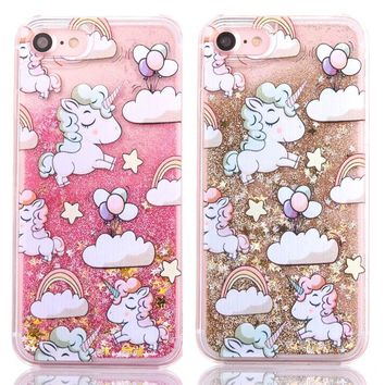 Unicorn Dynamic Liquid Star Hard PC Phone Case For iPhone 4 4s 5 5s 5c 6 6s 7 Plus