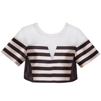 Three Floor Matchmade Black and White Striped Crop Top