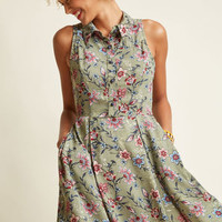 Atlanta Adventure A-Line Dress in Sage Paisley