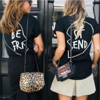 Casual Loose Best Friend Print Short Sleeve T Shirt