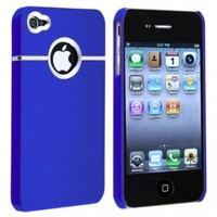 Leegoal Dark Blue with Chrome Hole Rear Snap-on Case compatible with Apple iPhone 4 / 4S