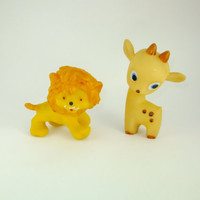 Lion and Deer Colorful Orange Yellow Rubber Toy, a Soviet Vintage, 1970's, Soviet Toy, Russian Toy