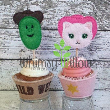 Cowboy Cactus & Cowgirl Cat Cupcake Toppers ONLY ITH Embroidery Design