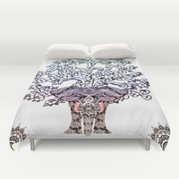 Indian Elephant Tree Of Life Duvet Cover by Inspired Images