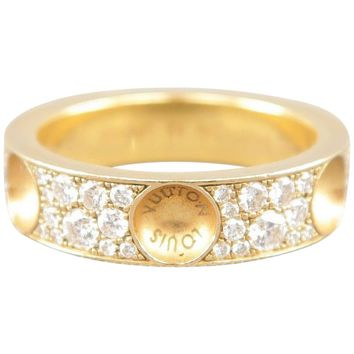 LOUIS VUITTON Size 6 18k Gold Empreinte Collection Inverted Stud Diamond Ring