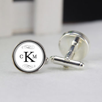 initials Cufflinks, Name Silver Plated Cuff link,3 initials Wedding  Resin men Cuff , Marry me Today , Anniversary Gifts