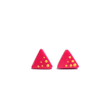 Simple Triangle Stud Earrings, Neon and Gold Studs, Titanium Spring Earrings