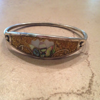 Vintage Mexican Alpaca Silver Bracelet Yellow Mother of Pearl Inlay Mexico Jewelry