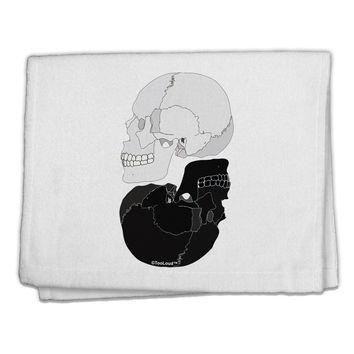 """White And Black Inverted Skulls 11""""x18"""" Dish Fingertip Towel by TooLoud"""