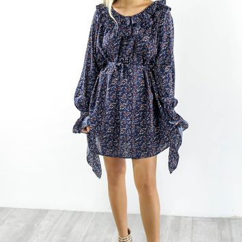 Staying In Paris Deep Blue Floral Print Dress