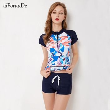 Sexy Zipper Leaf Floral Print Two Piece Swimming Suits Short Sleeve Plus Size Swimwear Female 2018 New Tankini Swimsuits Women