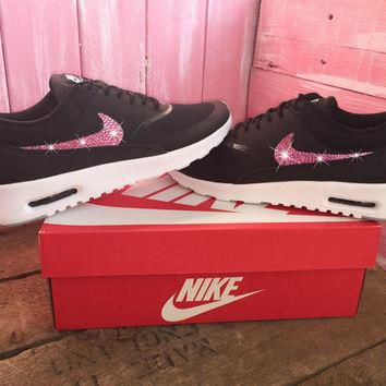 Blinged Womens Nike Air Max Thea Running Shoes Black Blinged Out With Pink Swarovski C