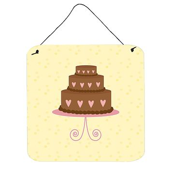 3 Tier Heart Chocolate Cake on Yellow Wall or Door Hanging Prints BB7288DS66